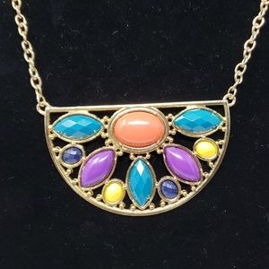 Multiple colored stone necklace